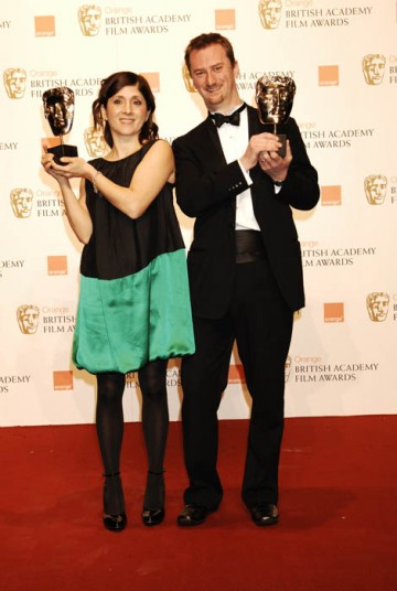 Esther May Campbell and Stewart le Maréchal celebrate their Short Film BAFTA for September (BAFTA/ Richard Kendal).