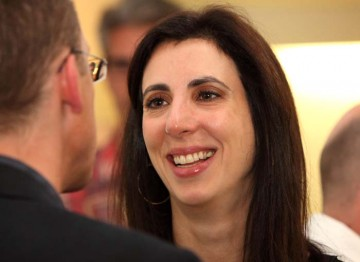Aline Brosh Mckenna talks with Jeremy Brock at BAFTA after delivering her Screenwriters' lecture. (Photography: Jay Brooks)