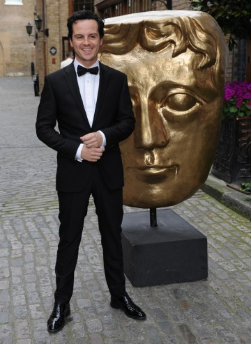 The BAFTA-nominated Sherlock actor arrives on the red carpet to present the Award for Production Design.