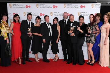 Winners of Soap & Continuing Drama: Emmerdale L-R - Karen Young, Lucy Pargeter, Michael Lasey, Kate Brooks, Danny Miller, Gillian Kearney, Ian McCloud, Natalie J Robb, John Middleton, Kate Oates, Jean Helley and Janine Goodall