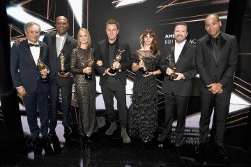 The honorees of the 2016 Britannia Awards pose together onstage at the end of the night.