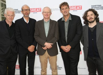 BAFTA New York Chair Charles Tremayne, with Richard Curtis, Eric Fellner, Tim Bevan, and Edgar Wright at the 21st Annual Hamptons International Film Festival on October 12, 2013 in East Hampton, New York. (Photo by Monica Schipper/Getty Images for The Ham