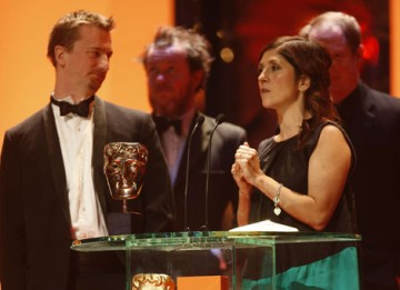 Stewart le Maréchal, Esther May Campbell and Zac Nicholson take to the stage to accept the Short Film BAFTA for September (BAFTA / Marc Hoberman).