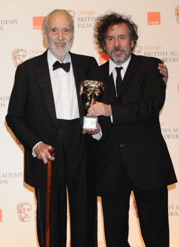 Latest Academy Fellow Sir Christopher Lee with director Tim Burton.