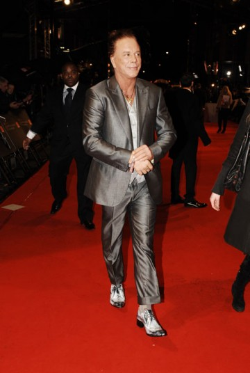Mickey Rourke, Leading Actor winner at last year's Film Awards for the Wrestler, arrives to present this year's Leading Actress award (BAFTA/Richard Kendal).