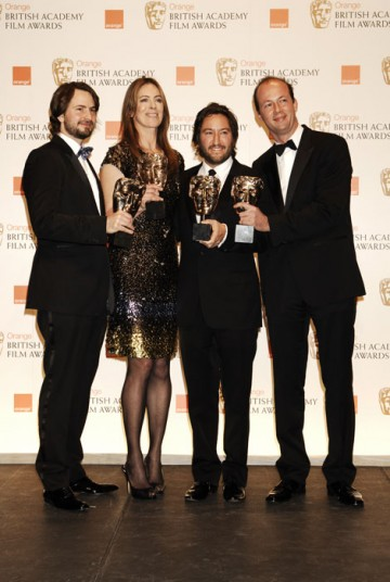 Kathryn Bigelow, Mark Boal, Nicolas Chartier and Greg Shapiro with their Best Film awards for The Hurt Locker (BAFTA/Richard Kendal).