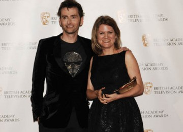 Doctor Who star David Tennant presented the Special Award to Jane Tranter, the television Executive who revitalised the series, at the British Academy Television Awards in 2009 (BAFTA/ Richard Kendal).