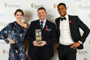Chris Reilly with citation readers Alfie Enoch & Ella Hunt, Actor TV