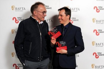 Kris Kubik - Winner in the Camera/Photography & Best New Work categories for 'Dipper from the Water of Leith' with presenter Danny Boyle