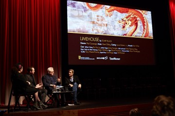 (L-R) Farah Abushwesha, Stuart Black, Michael Kuhn and Andy Harries at the BAFTA Rocliffe New Writing Forum