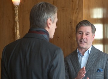Jeremy Irons talks with Jeremy Hackett at the Fellowship celebratory lunch hosted.