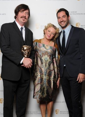 Phil Heyes winner of Director: Multi-Camera for The X Factor Final with actor Tom Ellis.