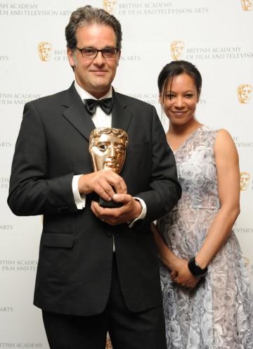 Actress Nina Sosanya with BAFTA-winning production designer Tom Bowyer. (Pic: BAFTA/Chris Sharp)