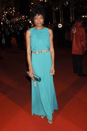 Naomie Harris shone in a striking full-length gown by Escada (pic: BAFTA / Richard Kendal).