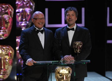 MasterChef hosts John Torode and Gregg Wallace turned up the heat as they announced the Interactivity award (BAFTA / Marc Hoberman).