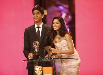 Slumdog stars Dev Patel and Freida Pinto teamed up again to present the BAFTA for Costume Design (BAFTA / Marc Hoberman).