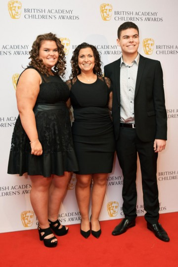 Amy, Nikki and Josh Tapper at the BAFTA Children's Awards 2015 at the Roundhouse on 22 November 2015
