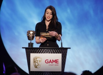 Bionic Woman and Eastenders star Michelle Ryan presents the first award of the evening for best Action Game (BAFTA/Brian Ritchie)