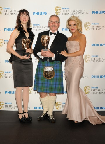 Sandy Johnson and Izzy Mant picked up the BAFTA for Comedy Programme presented by Sheridan Smith for Harry & Paul. (Pic: BAFTA/Richard Kendal)