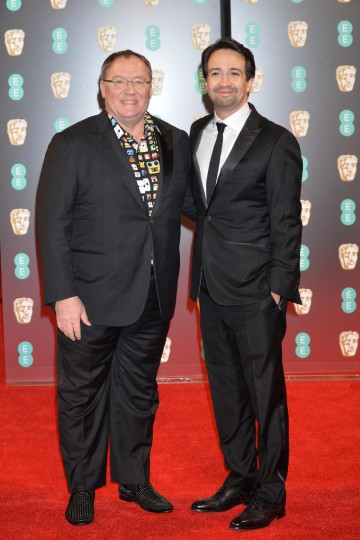 Moana executive producer John Lasseter and composer Lin-Manuel Miranda on the red carpet