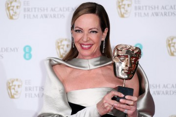 Allison Janney with her BAFTA mask backstage