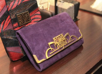Luxurious BIBA clutch bags on display in the House of Fraser suite.