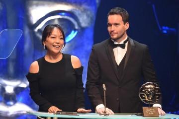Citation readers Naoko Mori and Gareth David Lloyd present the Television Drama Award