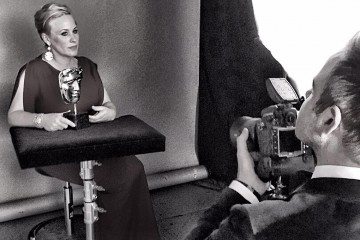 Supporting Actress winner Patricia Arquette in the backstage photo area at London's Royal Opera House.