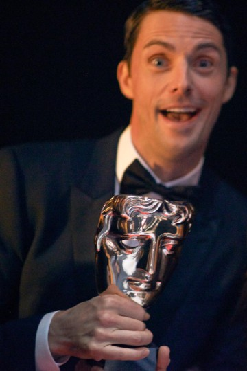 Matthew Goode poses backstage before presenting the BAFTA for Animated Film at London's Royal Opera House.
