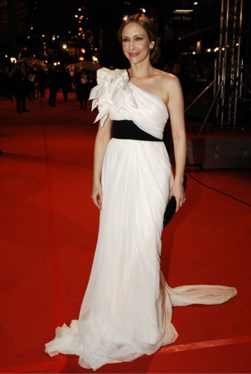 Supporting Actress nominee Vera Farmiga poses in a flowing white Marchesa dress (BAFTA/Richard Kendal).