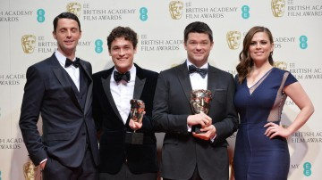Animated film - The Lego Movie: Phil Lord and Christopher Miller celebrate their BAFTA award with Matthew Goode and Hayley Atwell