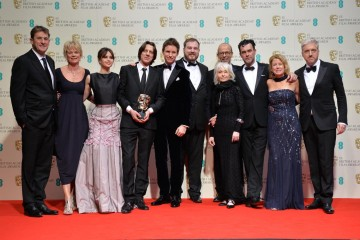 The Theory of Everything ensemble celebrate their BAFTA for Outstanding British Film