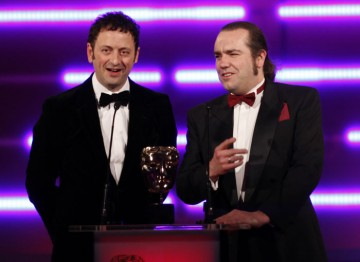 Watchdog's Matt Allwright and games designer Jon Hare (Sensible Soccer) present the award for Use of Audio. (Pic: BAFTA/Brian Ritchie)
