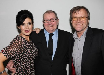 Stars of Coronation Street; Kym Marsh and David Nielson pose with the show's creator, Tony Warren. Pic: Steve Butler