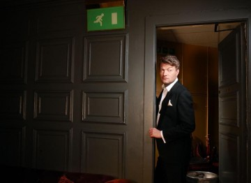 Charlie Brooker poses for the Television Awards comedy photoshoot in 2010.