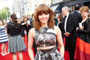 Ophelia Lovibond looking stunning on the red carpet outside London's Theatre Royal