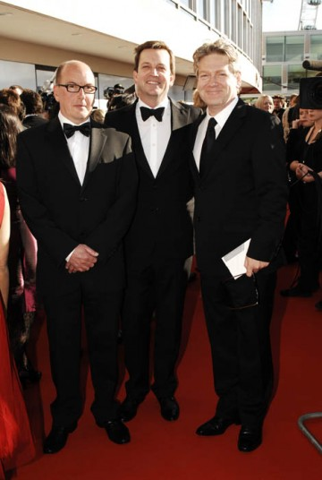 The Wallander team of Richard Cottan, Philip Martin and Kenneth Branagh on the red carpet at the British Academy Television Awards (BAFTA/Richard Kendal).