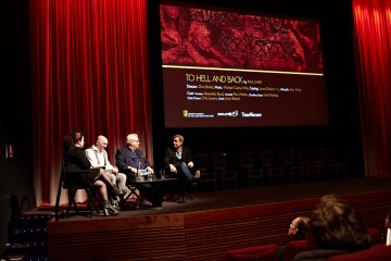 (L-R) Farah Abushwesha, Paul Marx, Michael Kuhn and Andy Harries at the BAFTA Rocliffe New Writing Forum