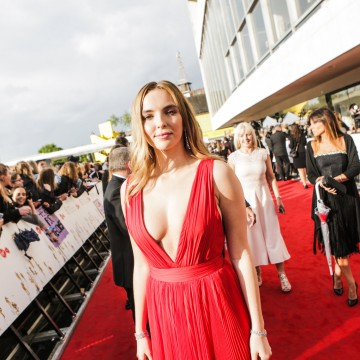 Leading Actress nominee Jodie Comer on the red carpet