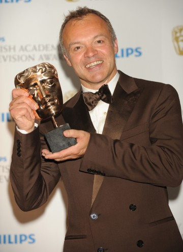 The host also goes home a winner; Norton took the Entertainment Performance BAFTA for hosting The Graham Norton Show. (Pic: BAFTA/Richard Kendal)