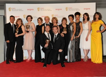 Coronation Street pick up the BAFTA for Soap and Continuing Drama. The team celebrate their win alongside award presenter Alex Jones and Bruno Tonioli.