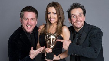 Richard McCourt & Dominic Wood, winner of the Presenter category at the British Academy Children's Awards in 2014 for Absolute Genius with Dick and Dom, presented by Gemma Merna