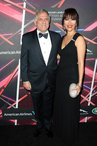 President and Chief Executive Officer of CBS Corporation Les Moonves with TV personality Julie Chen on the red carpet.