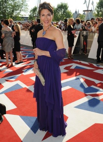 Greig, who is wearing a Jasper Conran dress, is nominated for her performance in Friday Night Dinner.