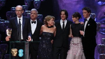 The cast of The Theory Of Everything take to the stage after winning the Best British Film BAFTA