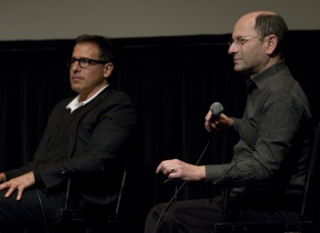Director David O. Russell and Moderator Brian Rose.
