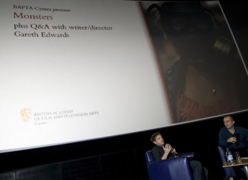 Gareth Edwards Q&A with Tom Betts; organiser of the Chapter MovieMaker screenings. Pic: Jon Pountney.