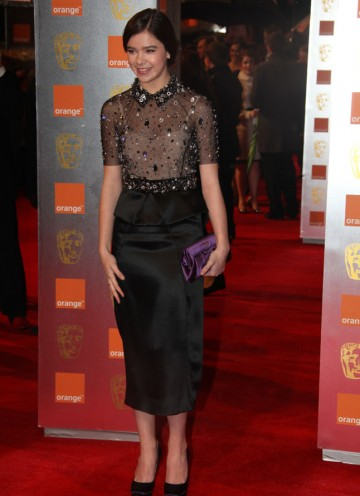 Steinfeld stars as the courageous Mattie Ross in True Grit. At 14, she is the youngest actor to be nominated for a leading performance. Steinfeld is wearing a black Miu Miu dress with embellished jewelled top. (Pic: BAFTA/Stephen Butler)