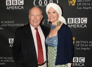 Screenwriter Julian Fellowes and his wife Emma Joy Kitchener