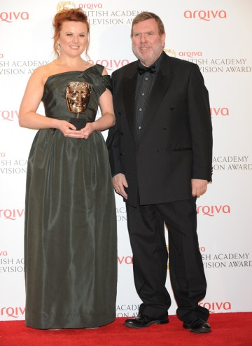 Appropriate Adult's Monica Dolan with her BAFTA for best Supporting Actress with award presenter Timothy Spall.